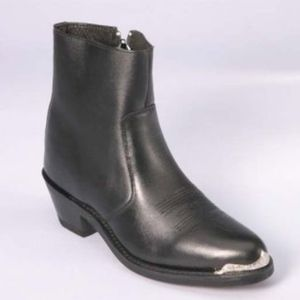 Western Style Leather Boot side zipper
